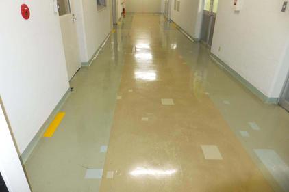 写真:製薬工場内通路床施工前