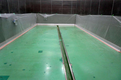 写真:食品工場塗床工事厚膜エポキシ樹脂施工前