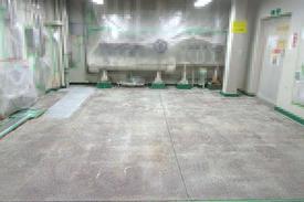 写真:水系硬質ウレタン塗床工事 塗り床工事 床塗装 床改修 施工例 耐熱性 耐薬品性