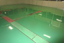 写真:自動車部品工場 エポキシ樹脂 塗床工事 塗り床工事 床塗装 床改修 施工例 防塵床